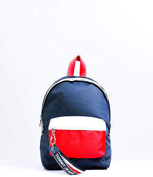 Tommy Hilfiger New Tommyhilfiger Womens Tommy Jeans Logo Mini Backpack In Navy Red Womens