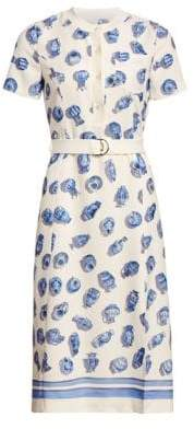 Altuzarra Printed Short Sleeve Belted A-Line Dress