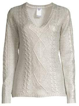 TSE x SFA Cashmere Foil Overlay Cabled Sweater
