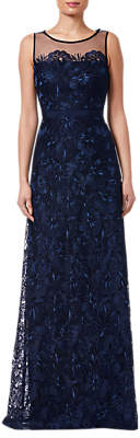 Adrianna Papell Long Embroidered Dress, Deep Blue