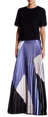 Gracia Colorblock Pleated Maxi Skirt