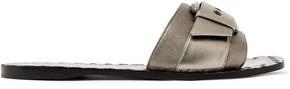 Bottega Veneta Buckled Metallic Textured-Leather Slides