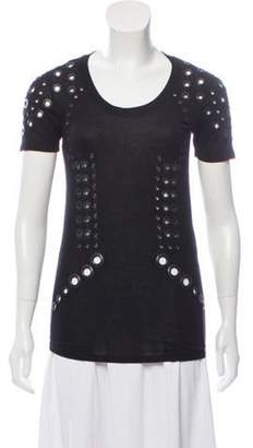 Givenchy Eyelet-Accented Short Sleeve Top Black Eyelet-Accented Short Sleeve Top