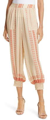 Nicholas Print Silk Crop Pants