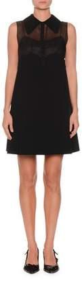 No.21 No. 21 Collared Sleeveless A-Line Crepe Mini Dress