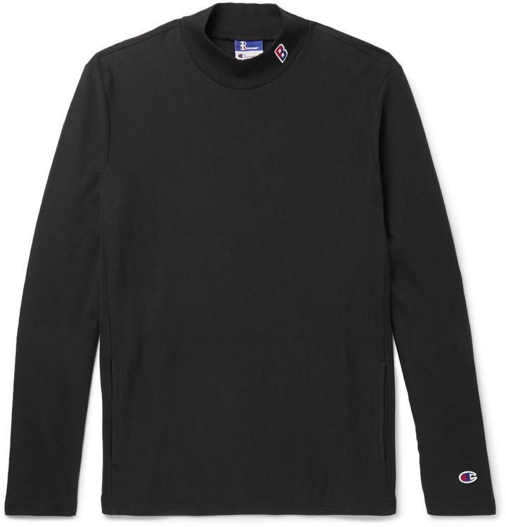 Beams + Champion Slim-Fit Cotton-Blend Jersey Mock-Neck Sweatshirt