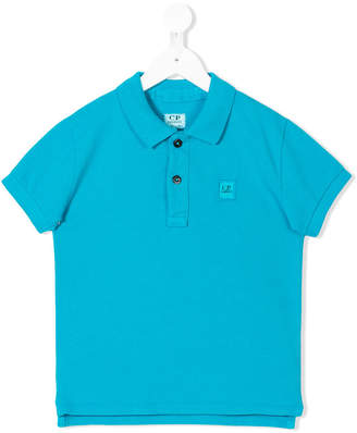 C.P. Company Kids logo patch polo shirt