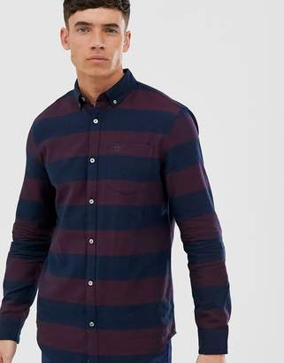 Original Penguin horizontal block stripe shirt in navy/burgundy