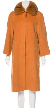 Gianfranco Ferre Wool-Blend Fur-Trimmed Coat