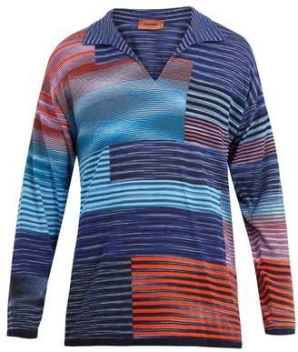 Missoni Open-neck long-sleeved polo cotton shirt