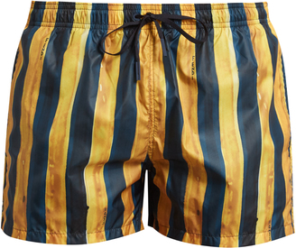 FENDI Stripe-print swim shorts $229 thestylecure.com