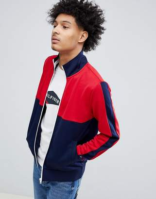 Tommy Hilfiger Sporty Tech Full Zip Track Top in Red/Blue