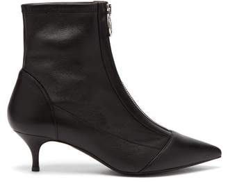 Tabitha Simmons Zippy Point Toe Leather Ankle Boots - Womens - Black