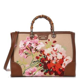 Gucci Bamboo Shopper Tote Embroidered Flowers Large Brown