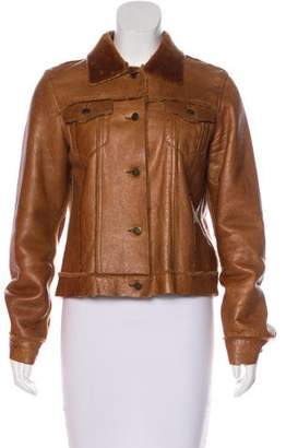 Theory Leather Shearling Jacket