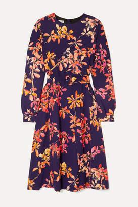 Dries Van Noten Dicina Belted Floral-print Crepe Midi Dress - Purple
