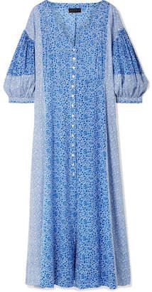 Hatch Nessa Floral-print Cotton-voile Midi Dress - Blue