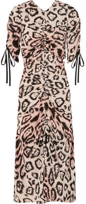 Alice McCall Animale Ruched Leopard-print Silk Crepe De Chine Midi Dress - Beige