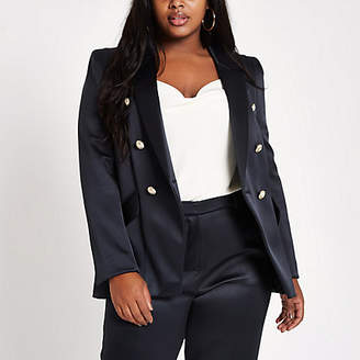 River Island Plus navy double breasted tux jacket