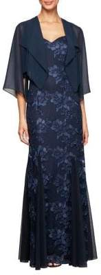 Alex Evenings Floral Embroidered Jacket Gown