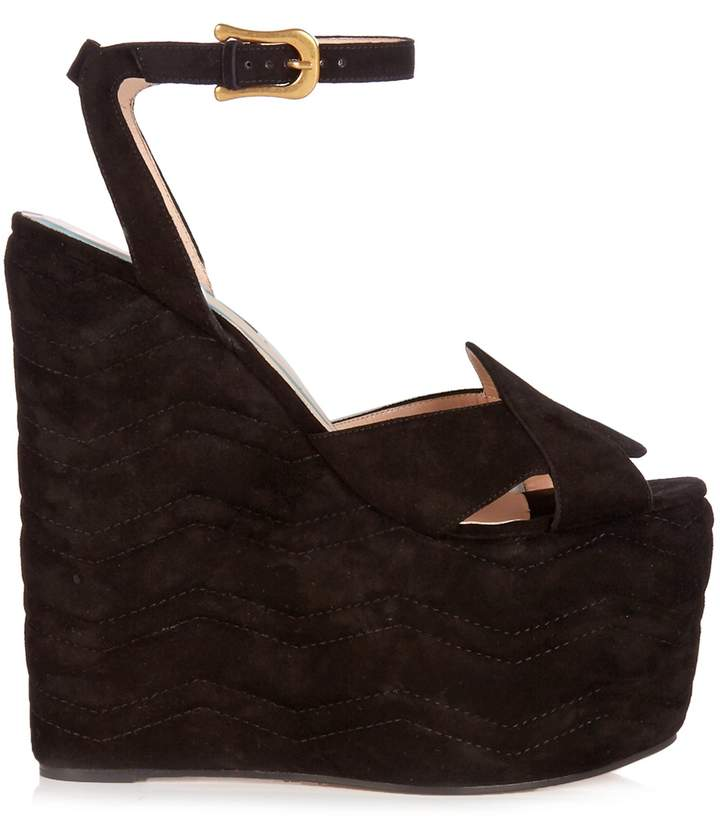 GUCCI Sally suede wedge sandals