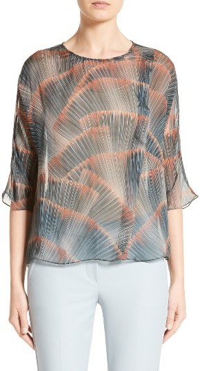 Women's Armani Collezioni Feather Print Mulberry Silk Blouse