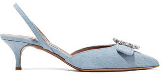 Tabitha Simmons Bells Crystal-embellished Denim Slingback Pumps - Mid denim