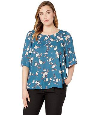Bobeau B Collection by Plus Size Bette Flutter Sleeve Smocked Tee