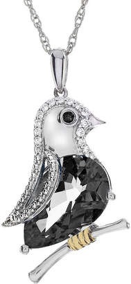 FINE JEWELRY Genuine Black Onyx and Lab-Created White Sapphire Sterling Silver Bird Necklace