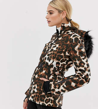 Asos 4505 4505 Tall ski mix and match jacket with belt and padded panel detail in leopard print