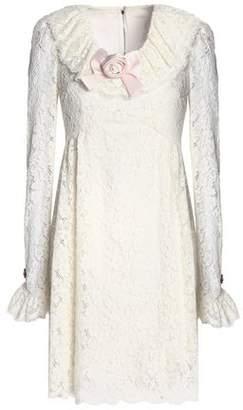 Dolce & Gabbana Satin-Appliquéd Corded-Lace Mini Dress