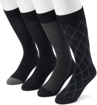 Croft & Barrow Men's 4-pack Opticool Argyle Crew Socks