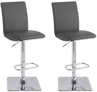CorLiving Adjustable High Back Barstool in Dark Grey Bonded Leather, set of 2