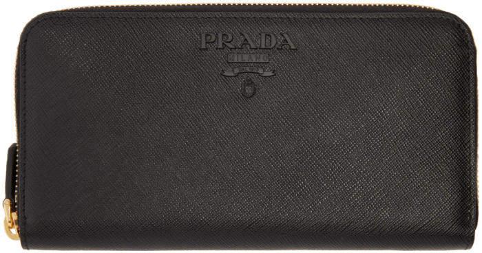Prada Black Saffiano Continental Wallet