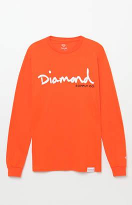 Diamond Supply Co. Script Long Sleeve Orange T-Shirt