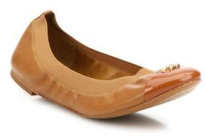 Tory Burch Jolie Cap Toe Leather Ballet Flats $228 thestylecure.com