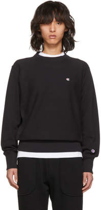 Champion Reverse Weave Black Small Logo Warm-Up Sweatshirt