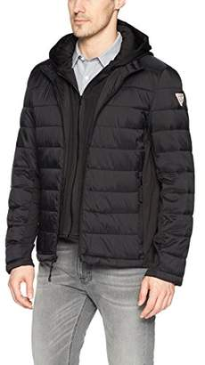 GUESS Men's Hooded Puffer Jacket Knit Side Panels