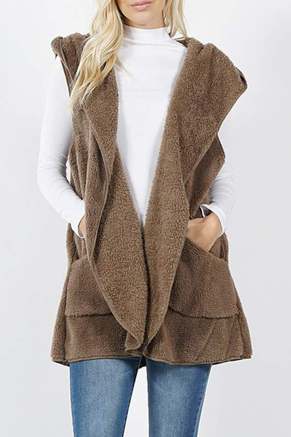 Zenana Faux-Fur Hooded Vest