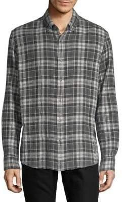 Black & Brown Black Brown Plaid Flannel Button-Down Shirt