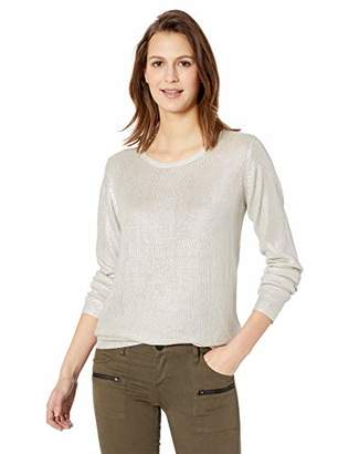 Majestic Filatures Women's Silk Metallic Long Sleeve Crew Sweater, Silver, 1