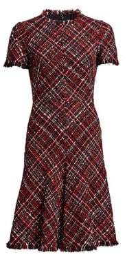 Alexander McQueen Frayed Tweed Flounce Dress