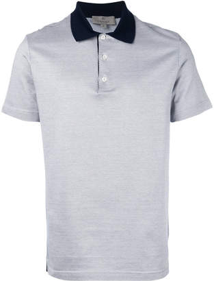 Canali contrasting collar polo shirt
