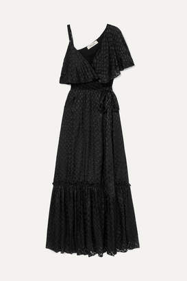 Diane von Furstenberg Ella Asymmetric Devoré-satin Wrap Maxi Dress - Black