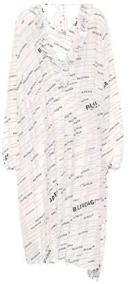 Balenciaga Logo silk midi dress