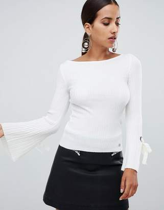 Lipsy ribbed long sleeve top with flare sleeve
