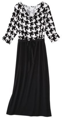 Merona Women's Plus-Size 3/4-Sleeve Colorblock Maxi Dress - Black/White