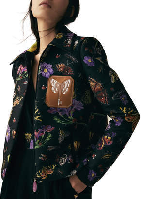Schiaparelli Butterfly Jacquard Zip-Front Bomber Jacket