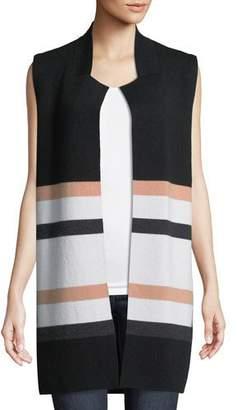 Neiman Marcus Striped Open-Front Cashmere Vest