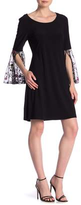 MSK Floral Embroidered Bell Sleeve Shift Dress